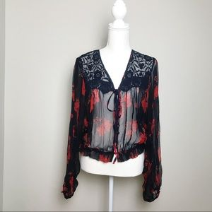 Free People Sheer Lace Inset Blouse